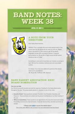 Band Notes: Week 38