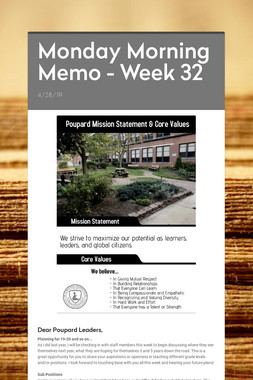 Monday Morning Memo - Week 32