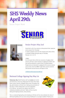 SHS Weekly News April 29th