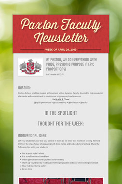Paxton Faculty Newsletter