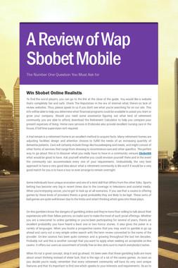 A Review of Wap Sbobet Mobile