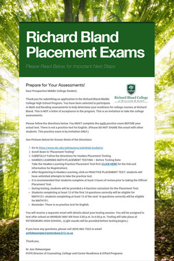Richard Bland Placement Exams