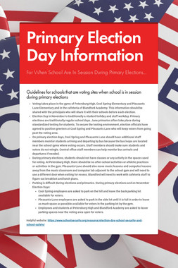 Primary Election Day Information