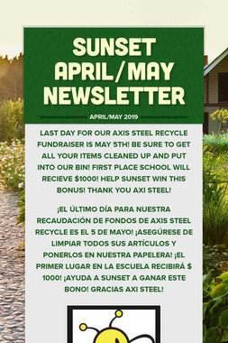Sunset April/May Newsletter
