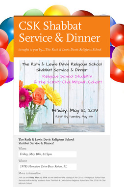CSK Shabbat Service & Dinner