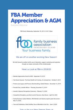 FBA Member Appreciation & AGM