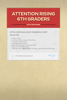 Attention Rising 6th Graders