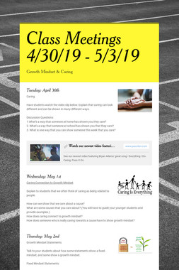 Class Meetings 4/30/19 - 5/3/19