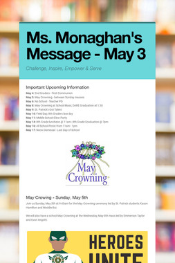Ms. Monaghan's Message - May 3