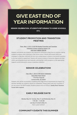 GIVE East End of Year Information
