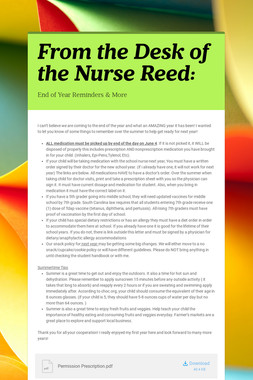From the Desk of the Nurse Reed: