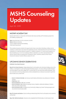 MSHS Counseling Updates