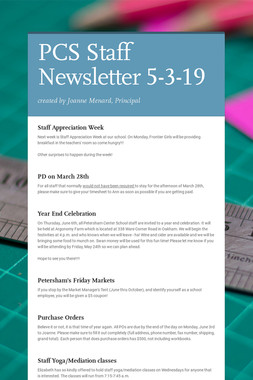 PCS Staff Newsletter 5-3-19