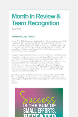 Month In Review & Team Recognition