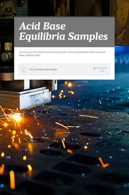 Acid Base Equilibria Samples