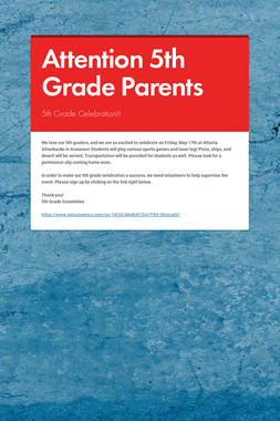 Attention 5th Grade Parents
