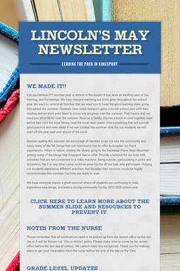 Lincoln's May Newsletter