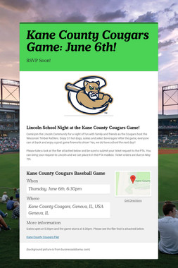Kane County Cougars Game: June 6th!