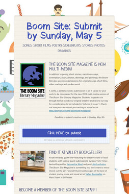 Boom Site: Submit by Sunday, May 5