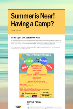 Summer is Near! Having a Camp?