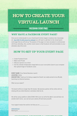 How to create your virtual launch