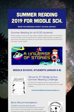 Summer Reading 2019 for Middle Sch.