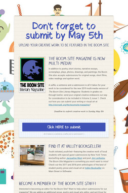 Don't forget to submit by May 5th