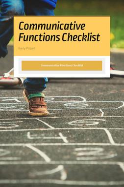 Communicative Functions Checklist