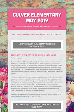 Culver Elementary    May 2019