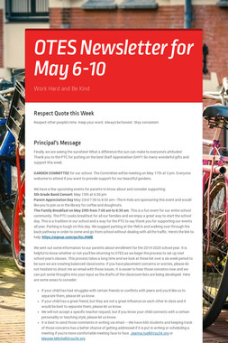OTES Newsletter for May 6-10