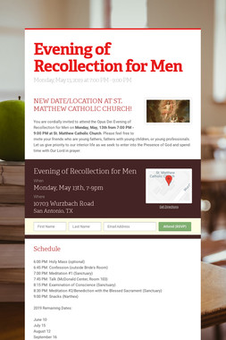 Evening of Recollection for Men
