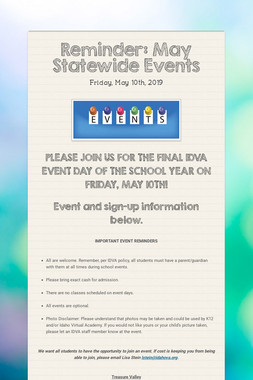 Reminder: May Statewide Events