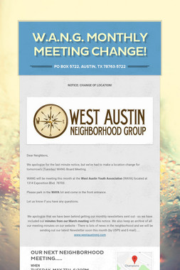 W.A.N.G. Monthly Meeting change!