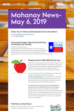 Mahanay News- May 6, 2019