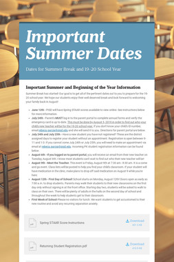 Important Summer Dates