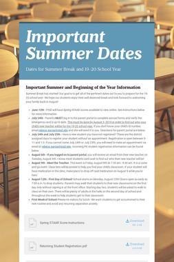 Important Summer Dates
