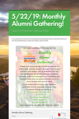 5/22/19: Monthly Alumni Gathering!