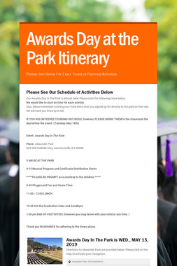 Awards Day at the Park Itinerary