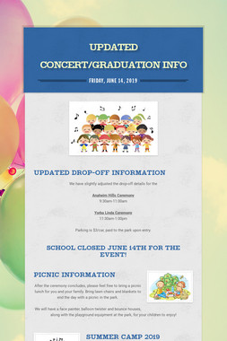 UPDATED Concert/Graduation Info