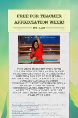 Free For Teacher Appreciation Week!