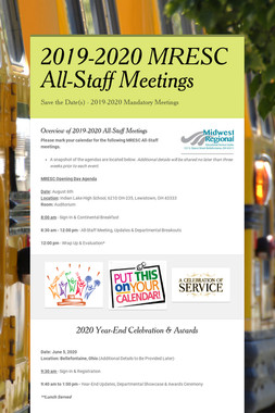 2019-2020 MRESC All-Staff Meetings
