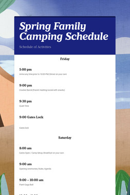 Spring Family Camping Schedule