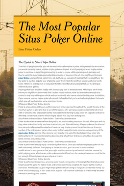 The Most Popular Situs Poker Online