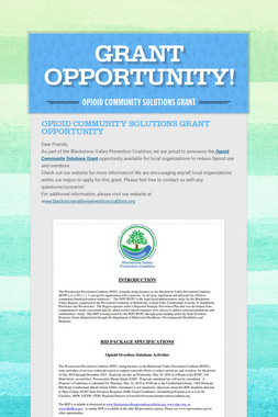 GRANT OPPORTUNITY!