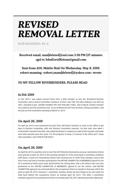 REVISED REMOVAL LETTER