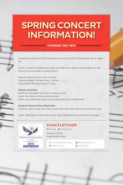 Spring Concert Information!