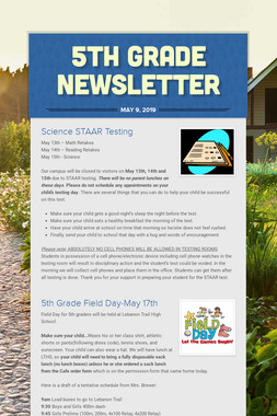 5th Grade Newsletter