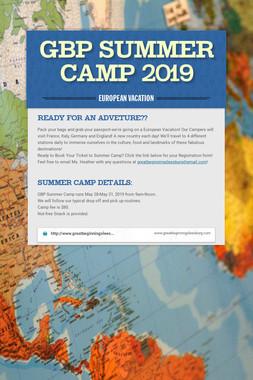 GBP Summer Camp 2019