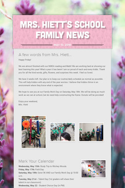 Mrs. Hiett's School Family News