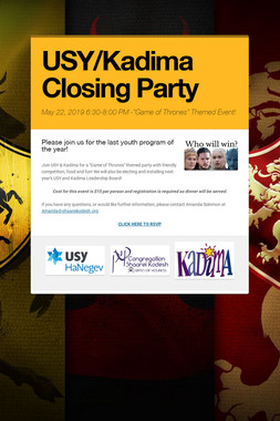 USY/Kadima Closing Party
